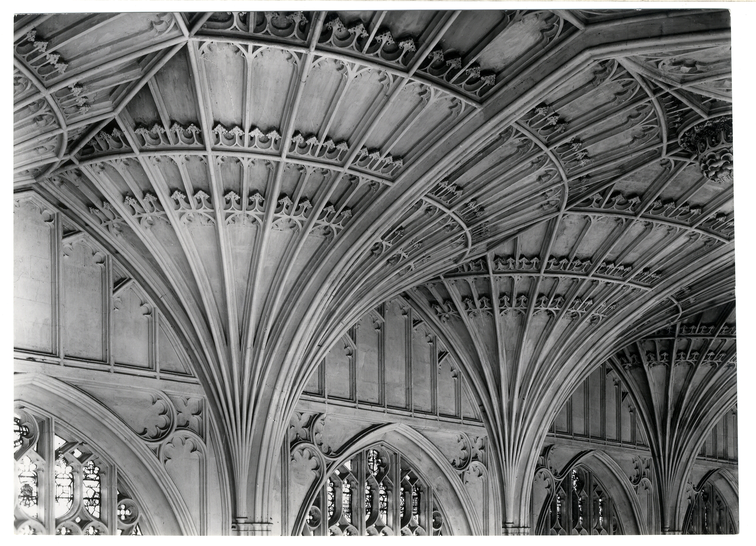 Detail of fan-vault on south side of the ante-chapel. Photograph: RCHM, 1949.[Coll-Ph-741]