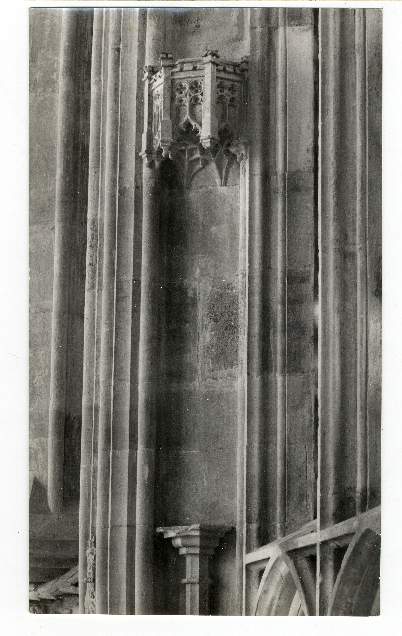 Tabernacle on the western jamb of the second window from the east on the north side. Photograph: Lettice Ramsey. [Coll-Ph-785]