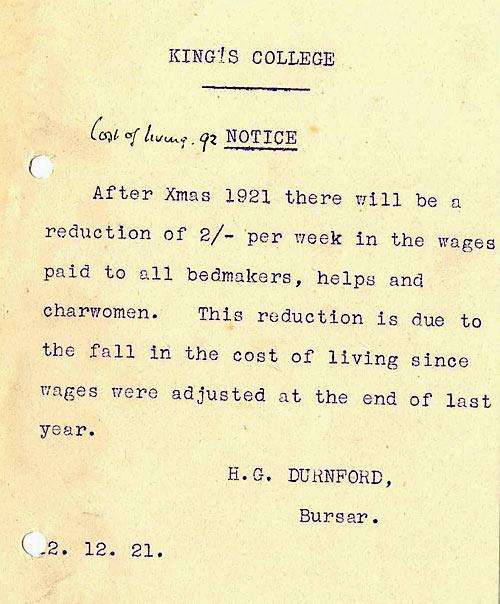 Notice of pay decrease, 1921