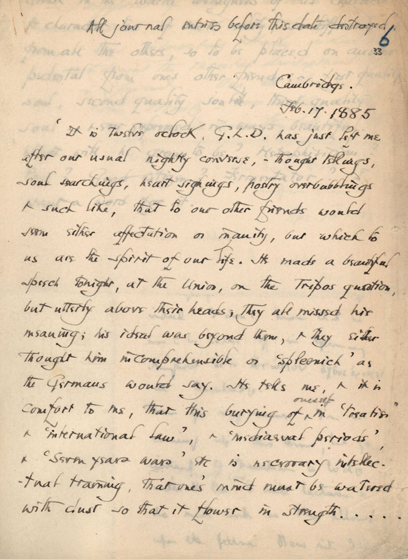 C.R. Ashbee journal entry on Goldsworthy Lowes Dickinson, dated 17 February 1885. [CRA/1/1, f.33]