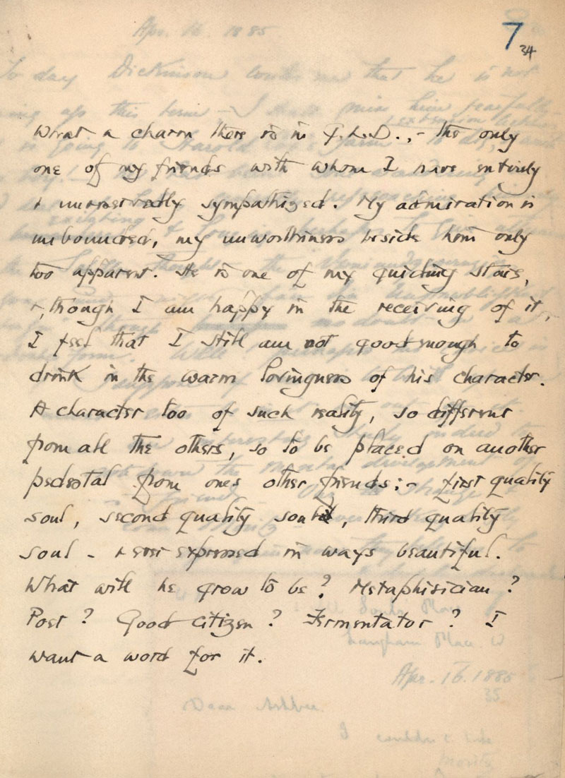 C.R. Ashbee journal entry on Goldsworthy Lowes Dickinson, page 2. [CRA/1/1, f.34]