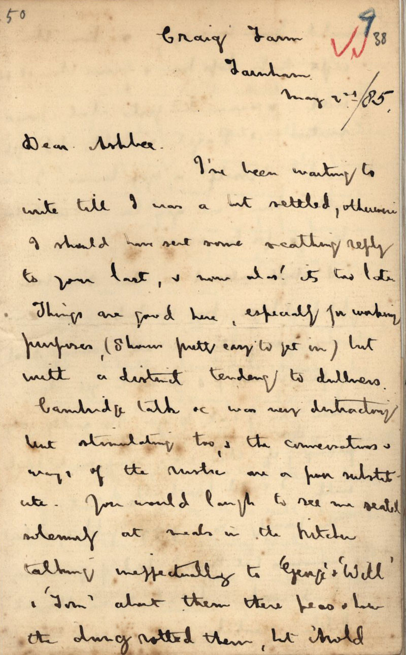 First page of a letter by Goldsworthy Lowes Dickinson, at Craig Farm, to C.R. Ashbee, dated 2 May 1885. [CRA/1/1, f.38]
