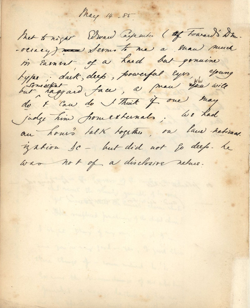 C.R. Ashbee journal entry on meeting Edward Carpenter for the first time, dated 14 May 1885. [CRA/1/1, f.43 verso]