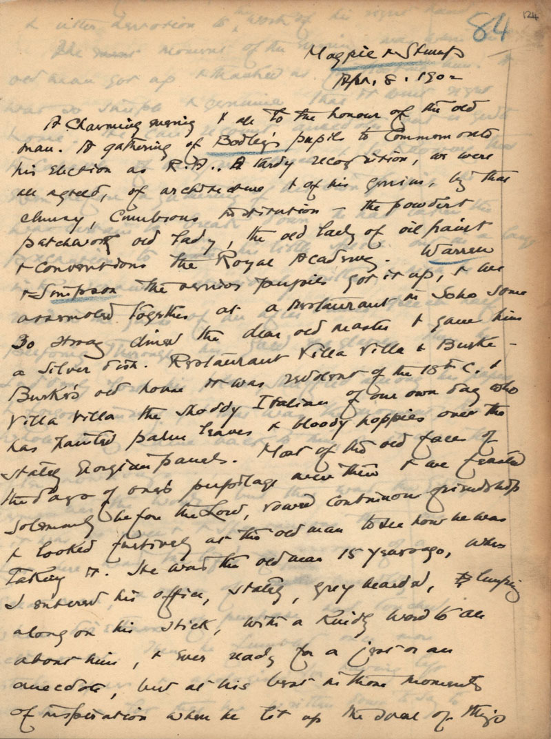 First page of C.R. Ashbee's journal entry on Bodley's election to the Royal Academy, 8 April 1902. [CRA/1/11, f.124]