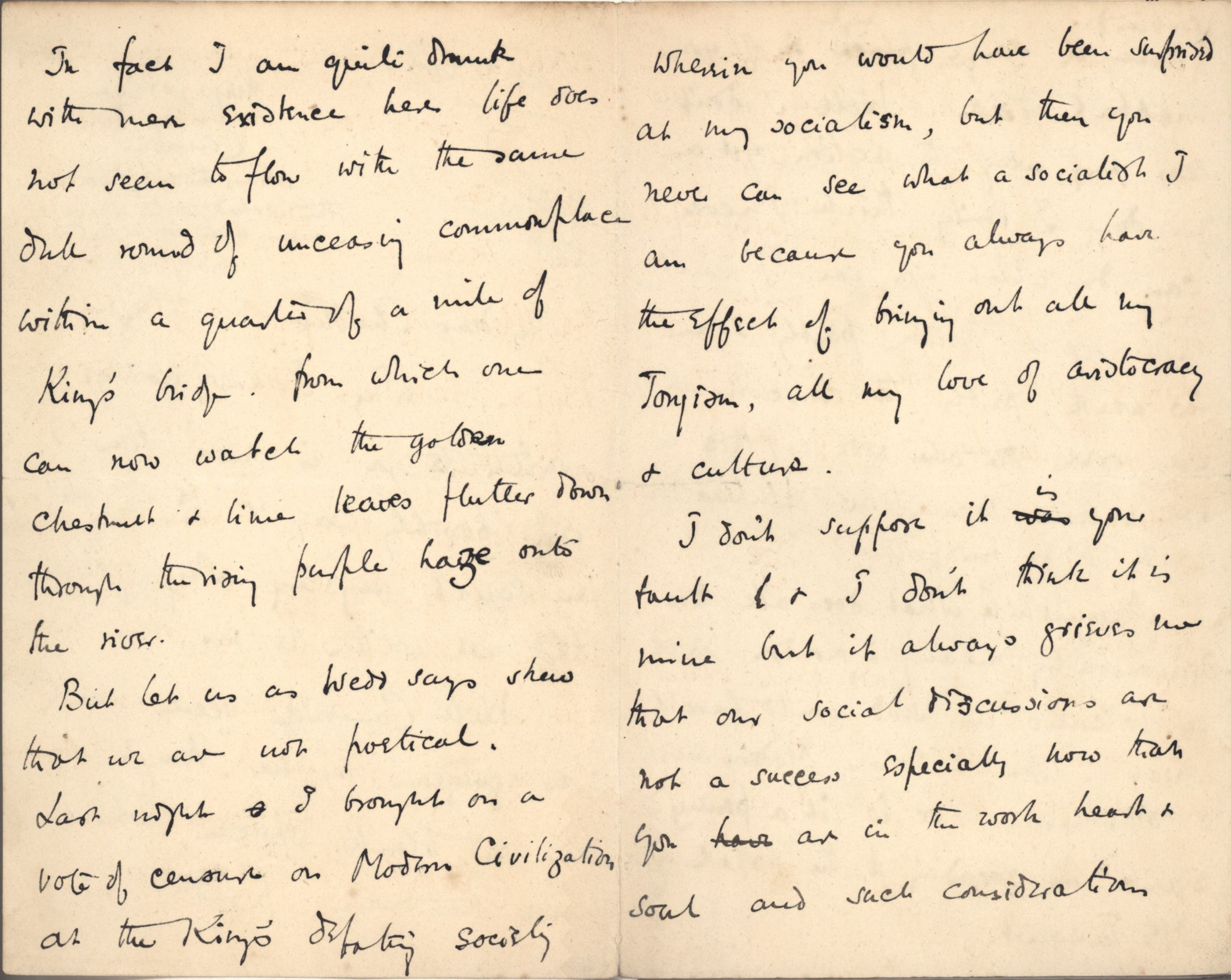 Part of a letter from Roger Fry to Ashbee, 22 October 1887, concerning socialism. [CRA/1/3, 152]