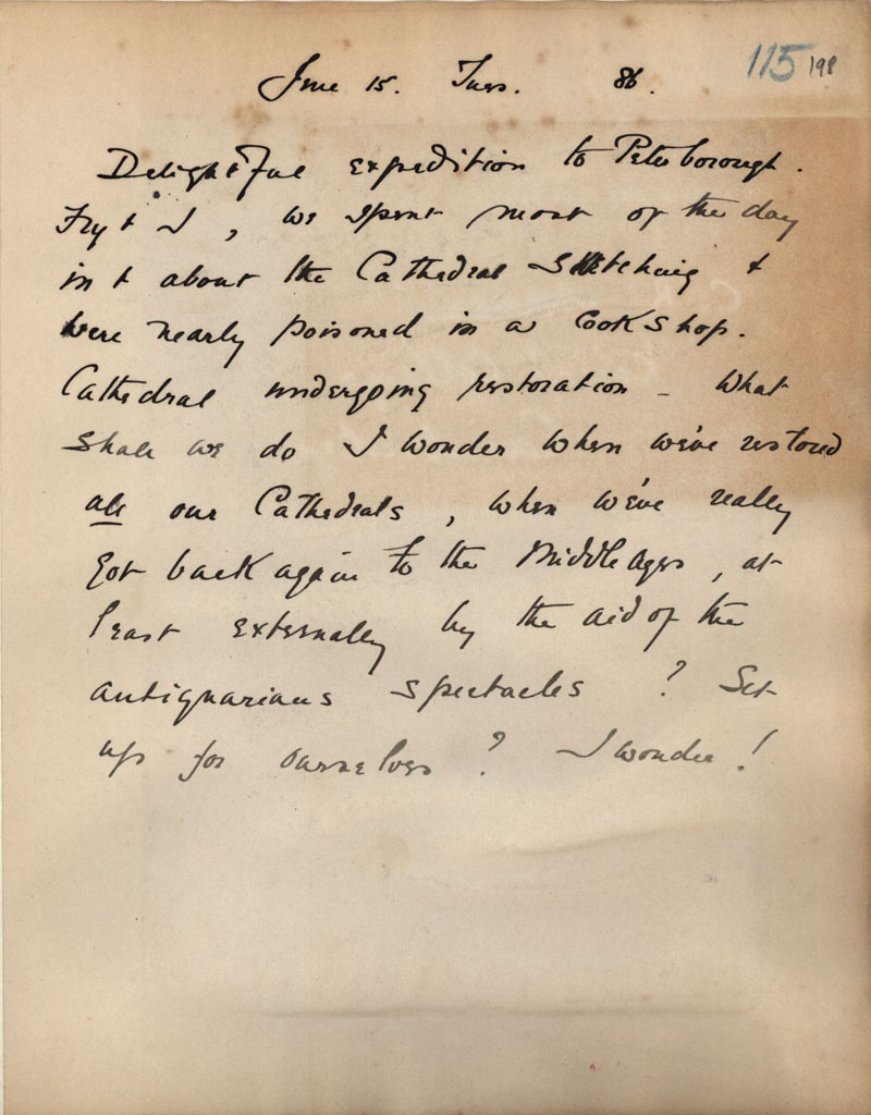 C.R. Ashbee journal entry on sketching Peterborough Cathedral with Roger Fry. [CRA/1/2, f.198]