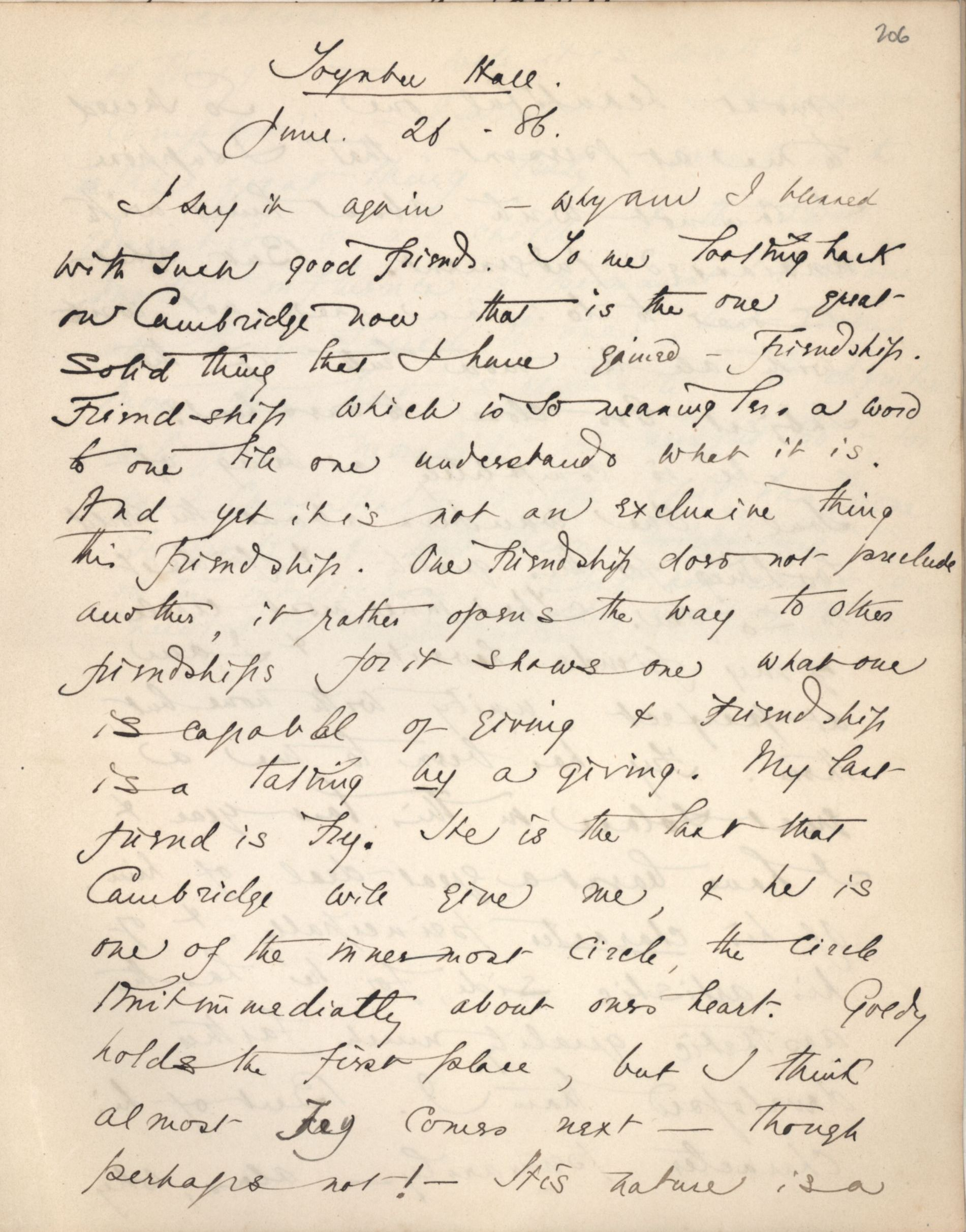 Ashbee's journal entry, 26 June 1886. [CRA/1/2, 206 recto]