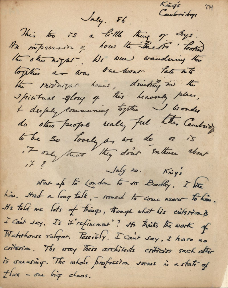 C.R. Ashbee's journal entry on getting to know Bodley, 20 July 1886. [CRA/1/2, f.234]