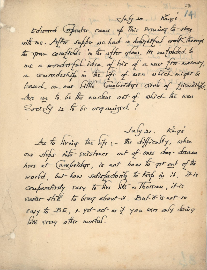 C.R. Ashbee's journal entry on Carpenter's idea for a new freemasonry or 'comradeship in the life of men', 20 July 1886. [CRA/1/2, f.236]