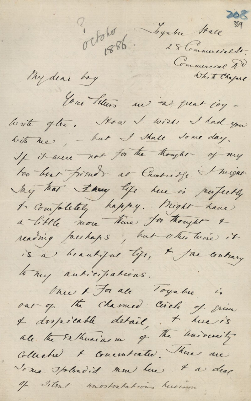 First page of a letter from C.R. Ashbee to Roger Fry, covering life at Toynbee Hall, lecturing on Ruskin and working with Bodley, c. October 1886. [CRA/1/2, f.359]