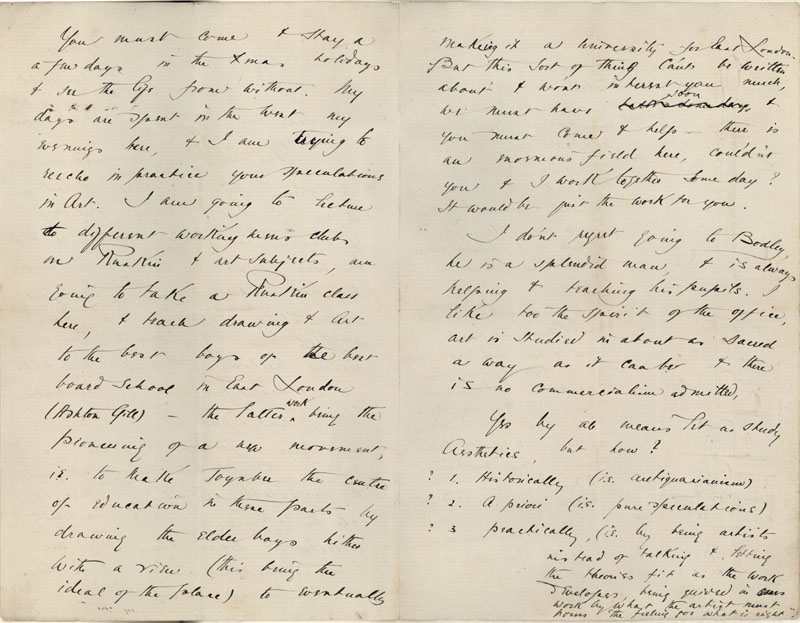 Second page of a letter from C.R. Ashbee to Roger Fry, covering life at Toynbee Hall, lecturing on Ruskin and working with Bodley, [October 1886]. [CRA/1/2, f.359]
