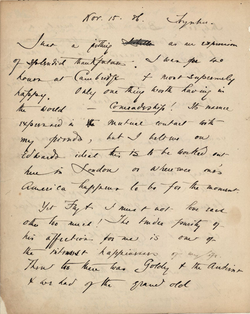 C.R. Ashbee's journal entry on 'comradeship', 15 November 1886. [CRA/1/2, f.367v]