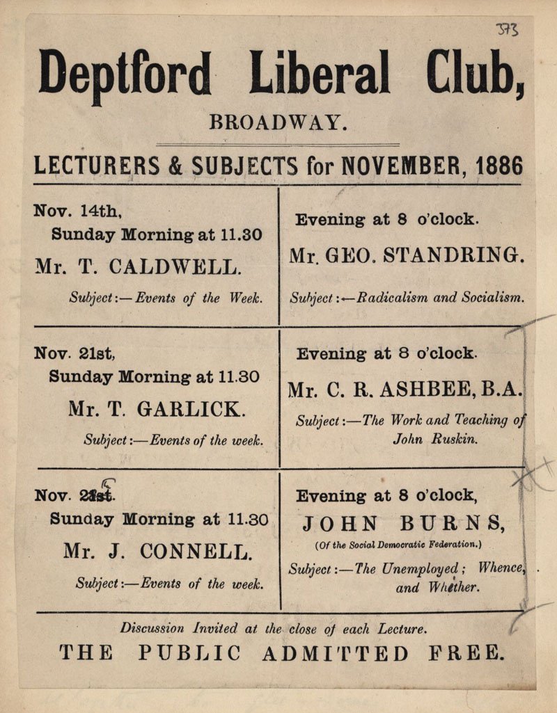Programme for a series of lectures at Deptford Liberal Club, including one by Ashbee on The Work and Teaching of John Ruskin, November 1886. [CRA/1/2, f.373v]