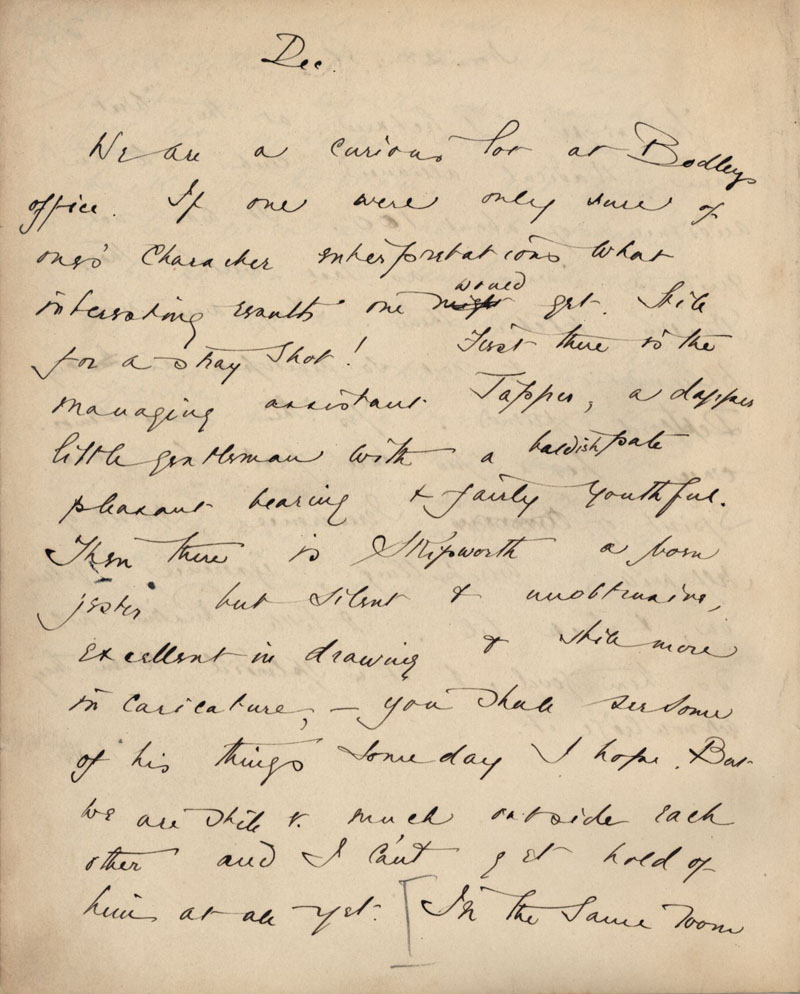 First page of C.R. Ashbee's journal entry on Bodley's office, December 1886. [CRA/1/2, f.380 verso]