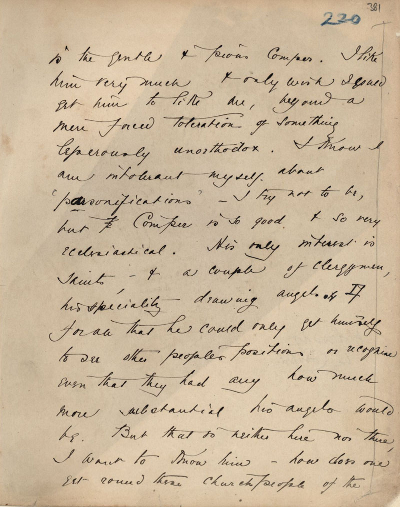 Second page of C.R. Ashbee's journal entry on Bodley's office, December 1886. [CRA/1/2, f.381 recto]