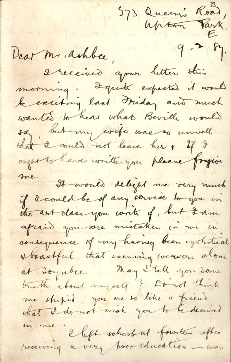 First side of a letter by Frederick H. Hubbard asking to join C.R. Ashbee's Ruskin class, dated 9 February 1887. [CRA/1/3, f.23]