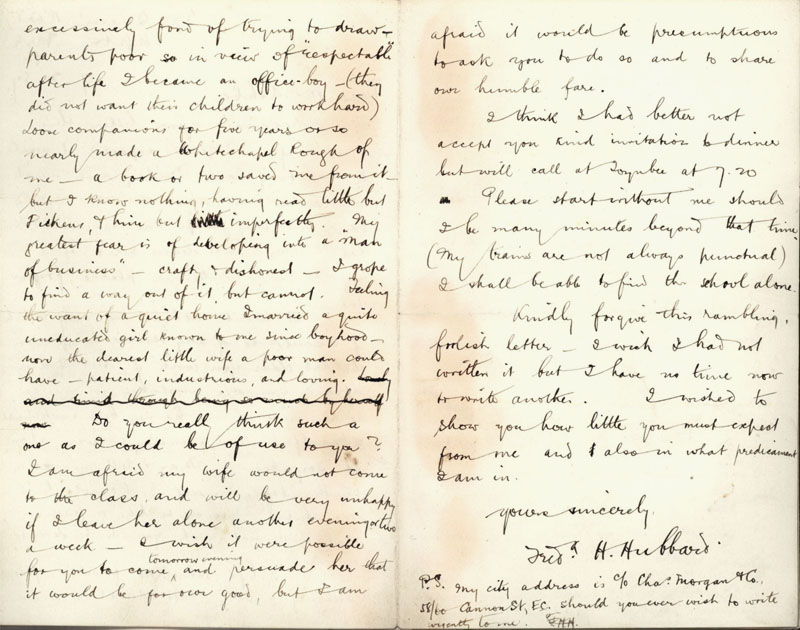 Second side of a letter by Frederick H. Hubbard asking to join C.R. Ashbee's Ruskin class, dated 9 February 1887. [CRA/1/3, f.24]
