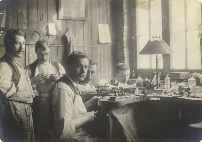 Jewellers' workshop at Essex House, Mile End. [CRA/12/28]