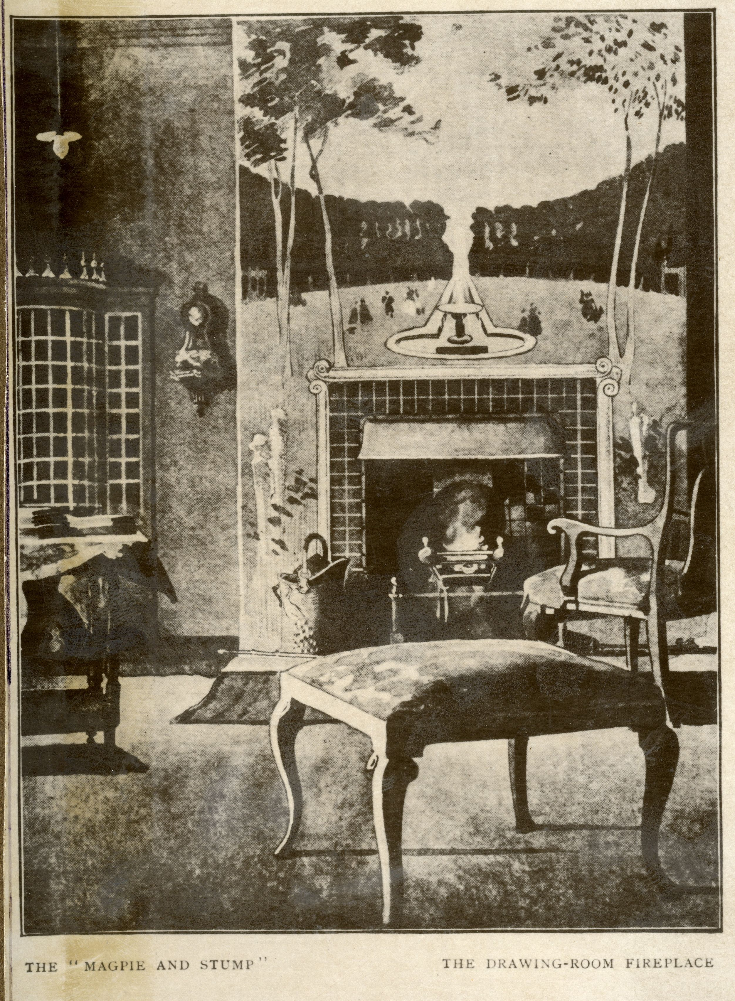 Roger Fry's wall painting in Ashbee's home, 'Magpie and Stump'. [CRA/23]