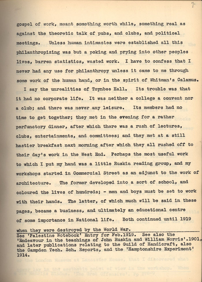 Continuation of C.R. Ashbee's memoir entry on Comradeship, Craftsmanship and philanthropy. [CRA/3/1, f.7]