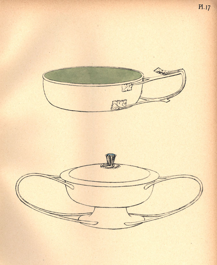 Handcoloured lithograph plate of designs for 'two jam or butter dishes'. [Ashbee (1908) 'Modern English silverwork: an essay', pl.17]