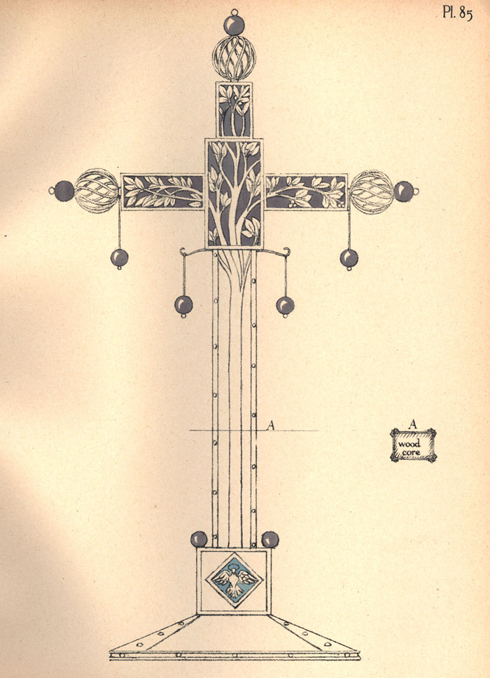 Handcoloured lithograph plate of a design for an 'altar cross set with four enamel panels and decorated with 11 amethyst balls'. [Ashbee (1908) 'Modern English silverwork: an essay', pl.85]