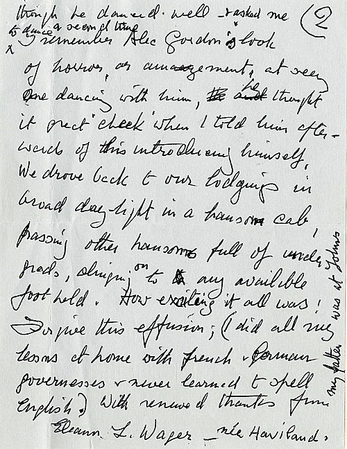 Page 3 of Eleanor Wager's letter describing King's first May Ball.