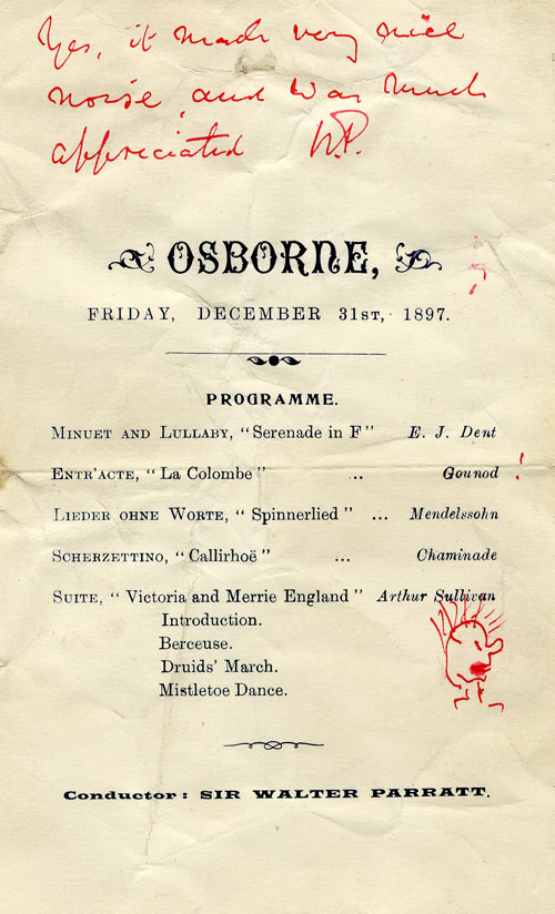 Programme for a concert at Osborne House (Isle of Wight) annotated by the conductor Walter Parratt and including a piece by Dent (EJD/4/299)