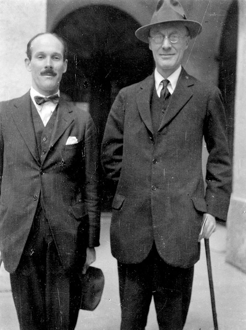 Photograph of Dent and J. B. Trend (Christ's College, later the first Professor of Spanish at Cambridge), c. 1923 (photographer Sydney J. Loeb. EJD/5/3/2/2/1)