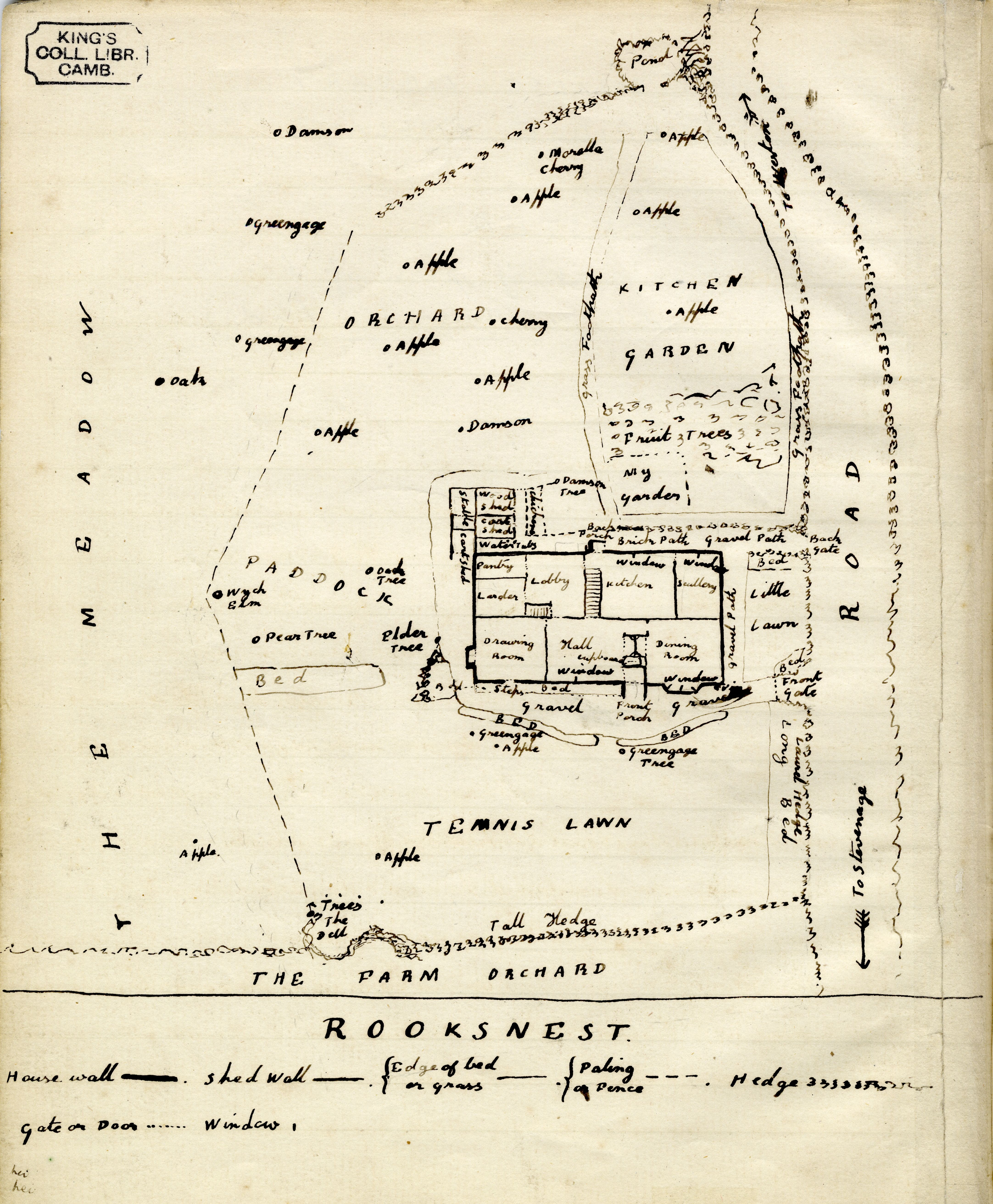 Forster's memoir of his childhood home Rooksnest, includes a sketch map of its layout, c. 1894. [EMF/11/14/C]