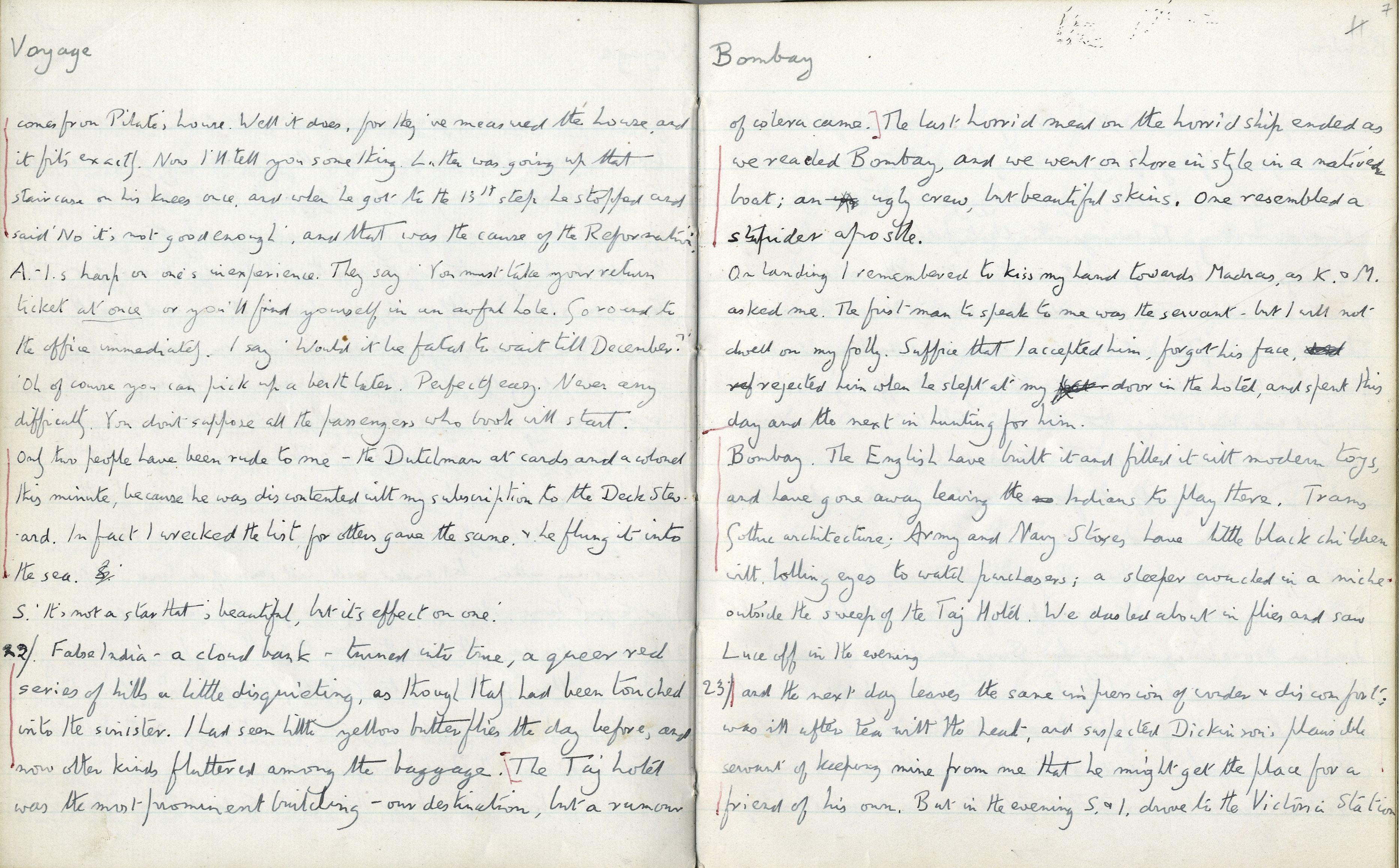 Indian Diary, 1912. [EMF/12/11/7]