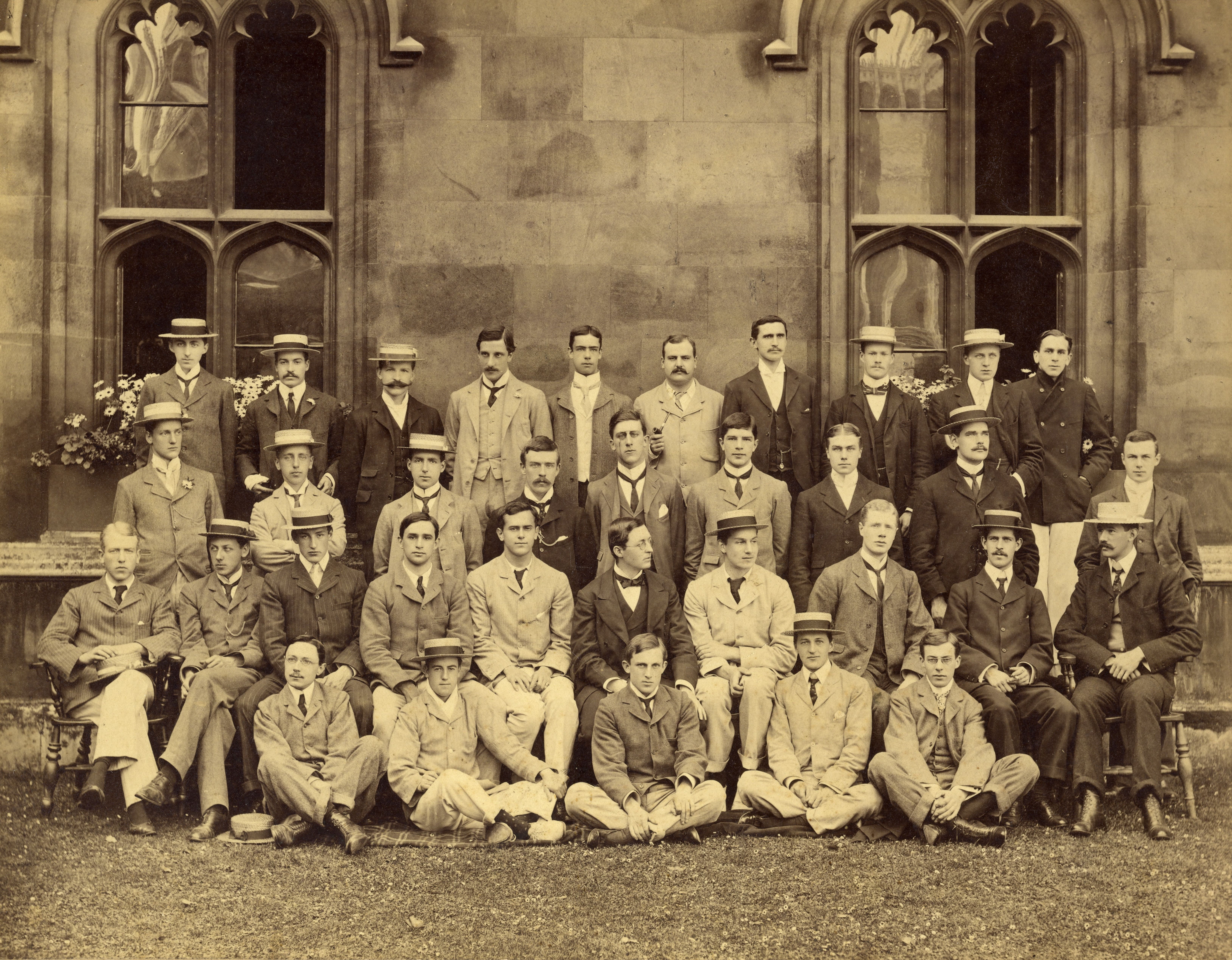 King's third years in 1900. Forster is at top left. Hugh Owen Meredith, whom Forster loved, is near the middle of the second row, next to MR James who was [Senior] Tutor at the time. [EMF/27/224]
