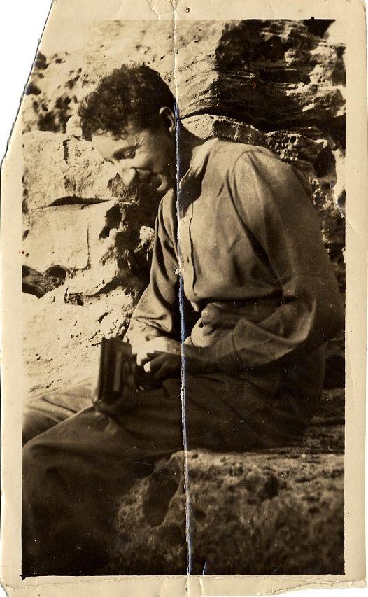 Forster sitting at Montazah. [EMF/27/325]
