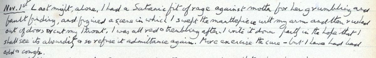E.M. Forster's locked diary entry, 1 November 1911 (EMF/vo. 4/4, f.25).