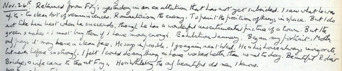 E.M. Forster's locked diary entry, 24 November 1911 (EMF/vo. 4/4, f.25).