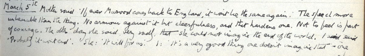 E.M. Forster's locked diary entry, 5 March 1912 (EMF/vo. 4/4, f.27).