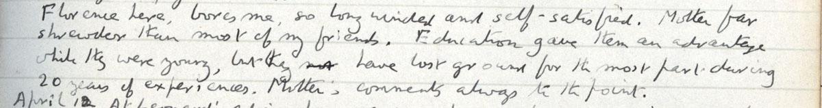 E.M. Forster's locked diary entry, 8 April 1922 (EMF/vo. 4/4, f.49).