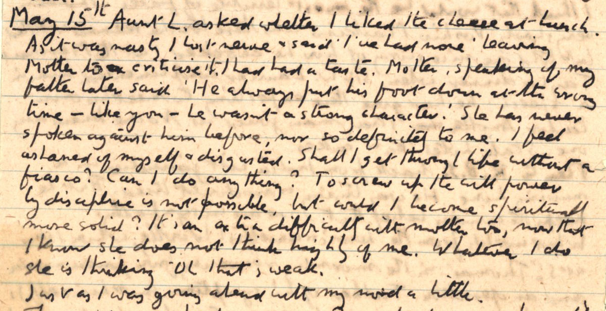 E.M. Forster's locked diary entry, 15 May 1912 (EMF/vo. 4/4, inside cover).