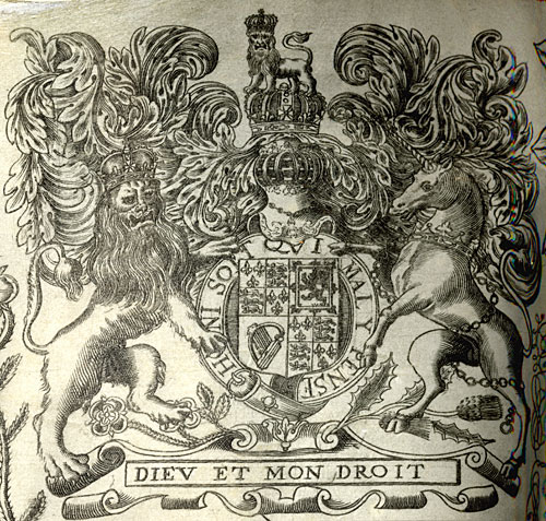 Detail of lion and unicorn in the border of a Royal Letters Patent, 1670 (ETO/16)