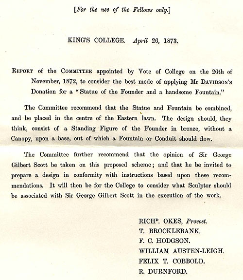 The report to Council in 1873 on the commissioning of a fountain in the Front Court (FRO/2)