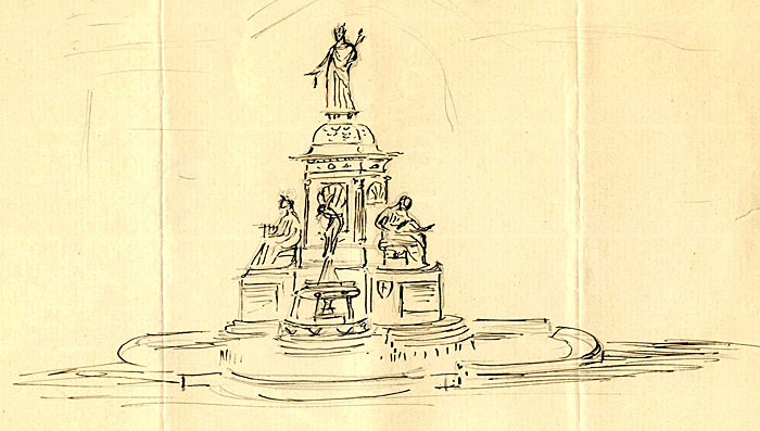 Sketch of the Fountain by Armstead 1873-79 (FRO/2)