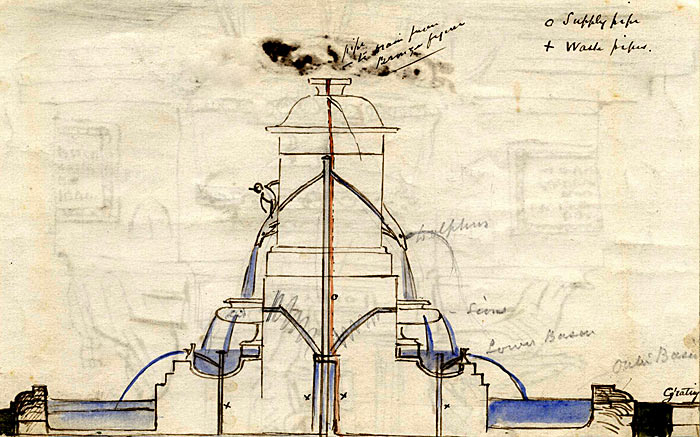 Armstead's watercolour section of the Fountain 1873-79 (FRO/2)