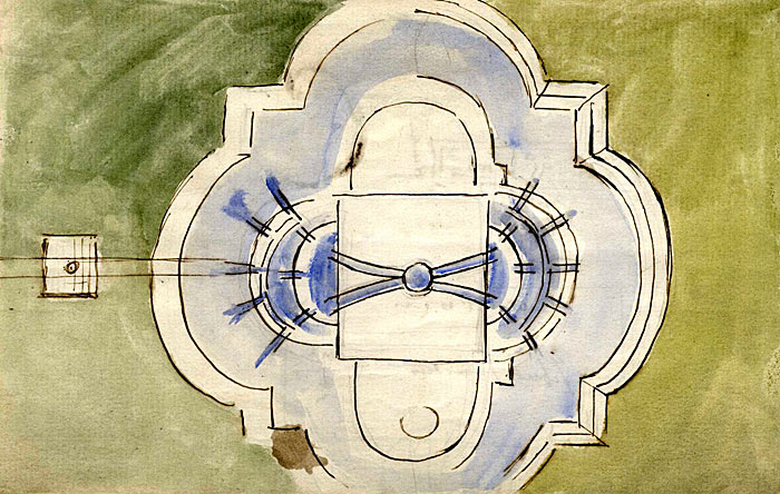 Armstead's watercolour of the Fountain from above 1873-79 (FRO/2)