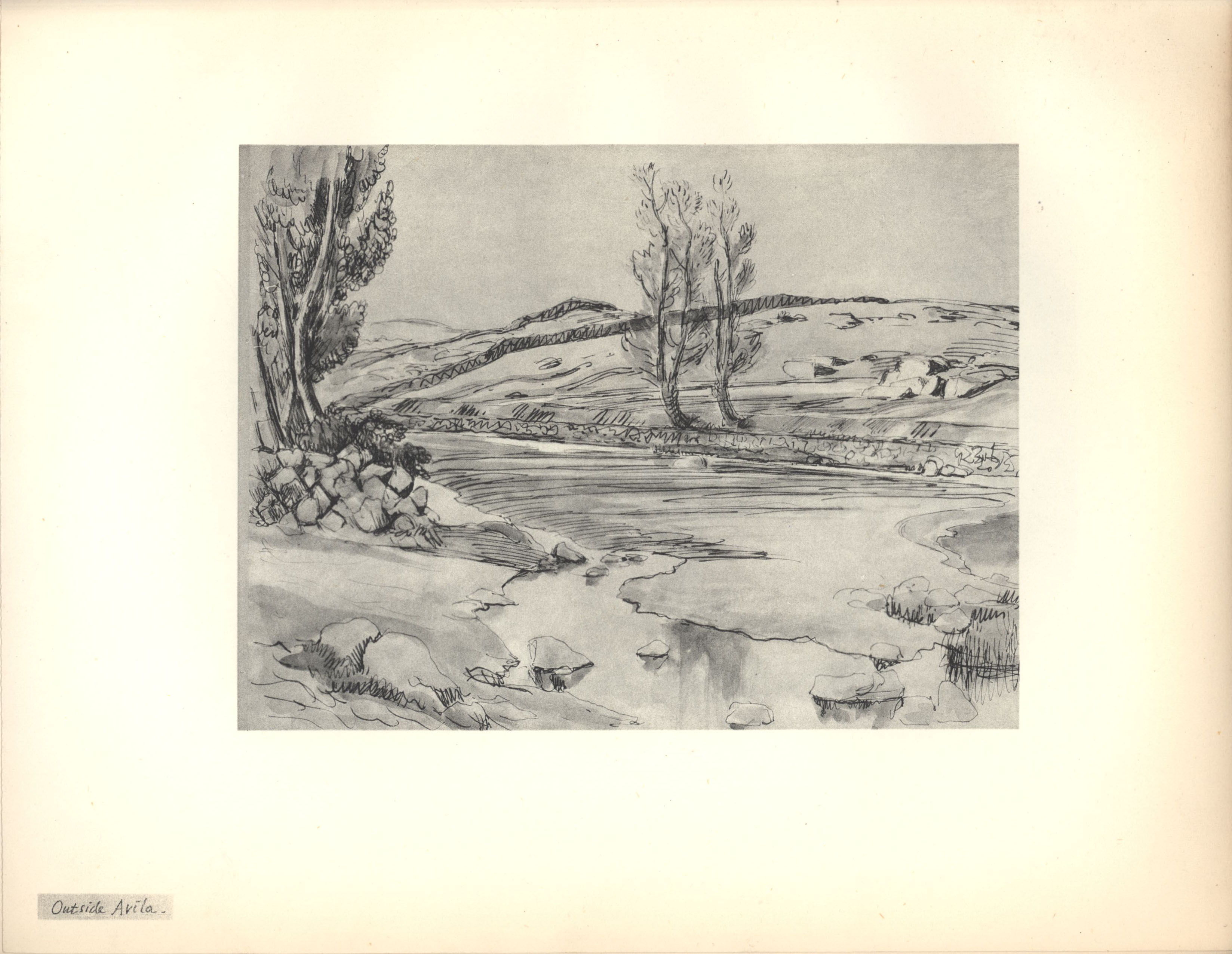 Outside Avila. Sketch from Roger Fry's sketchbook, 1923, used in 'A Sampler of Castile'.