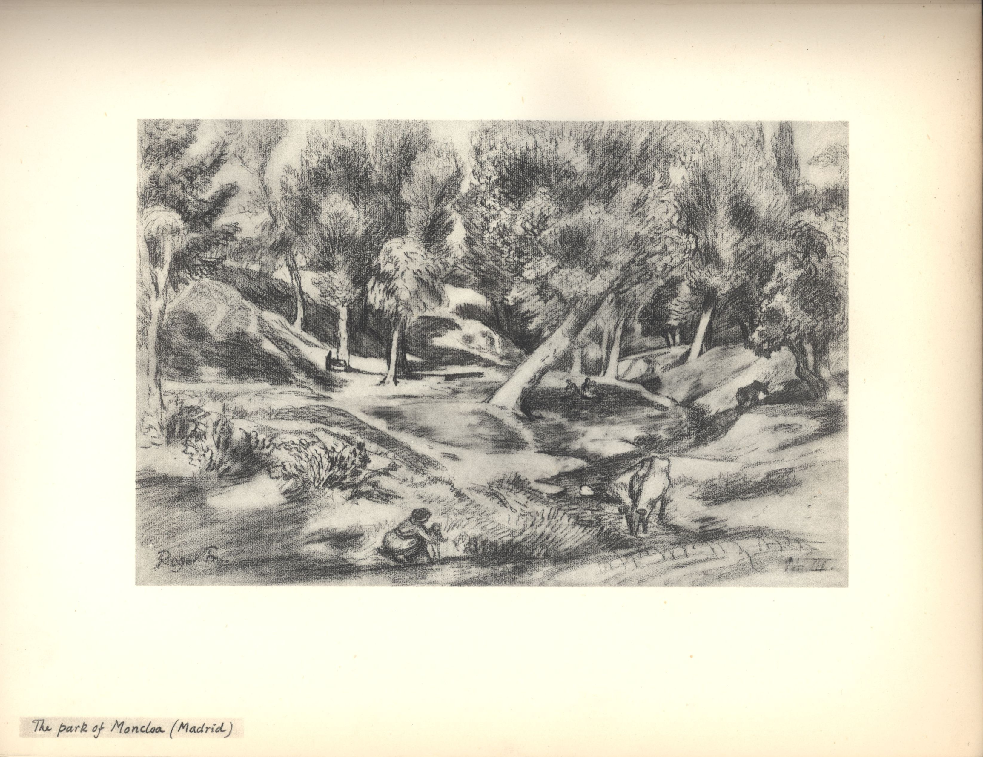 The park of Moncloa (Madrid). Sketch from Roger Fry's sketchbook, 1923, used in 'A Sampler of Castile'.