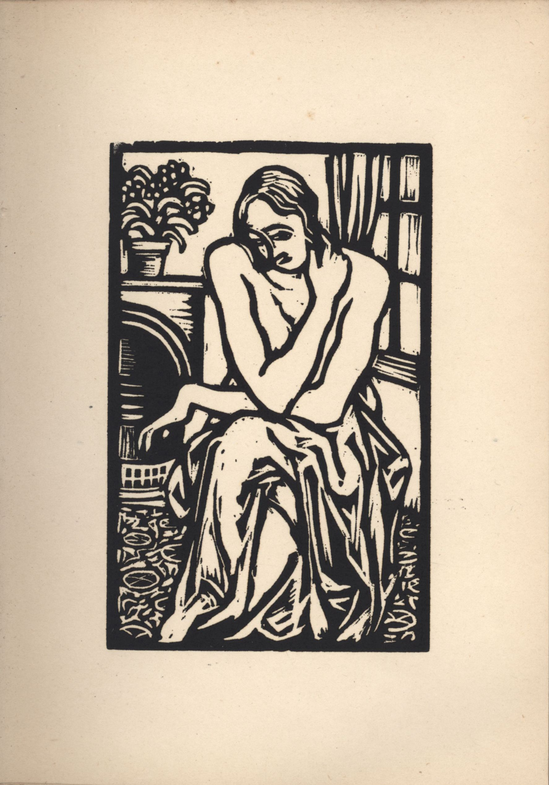 Tenth woodcut from Roger Fry's 'Twelve Original Woodcuts'.