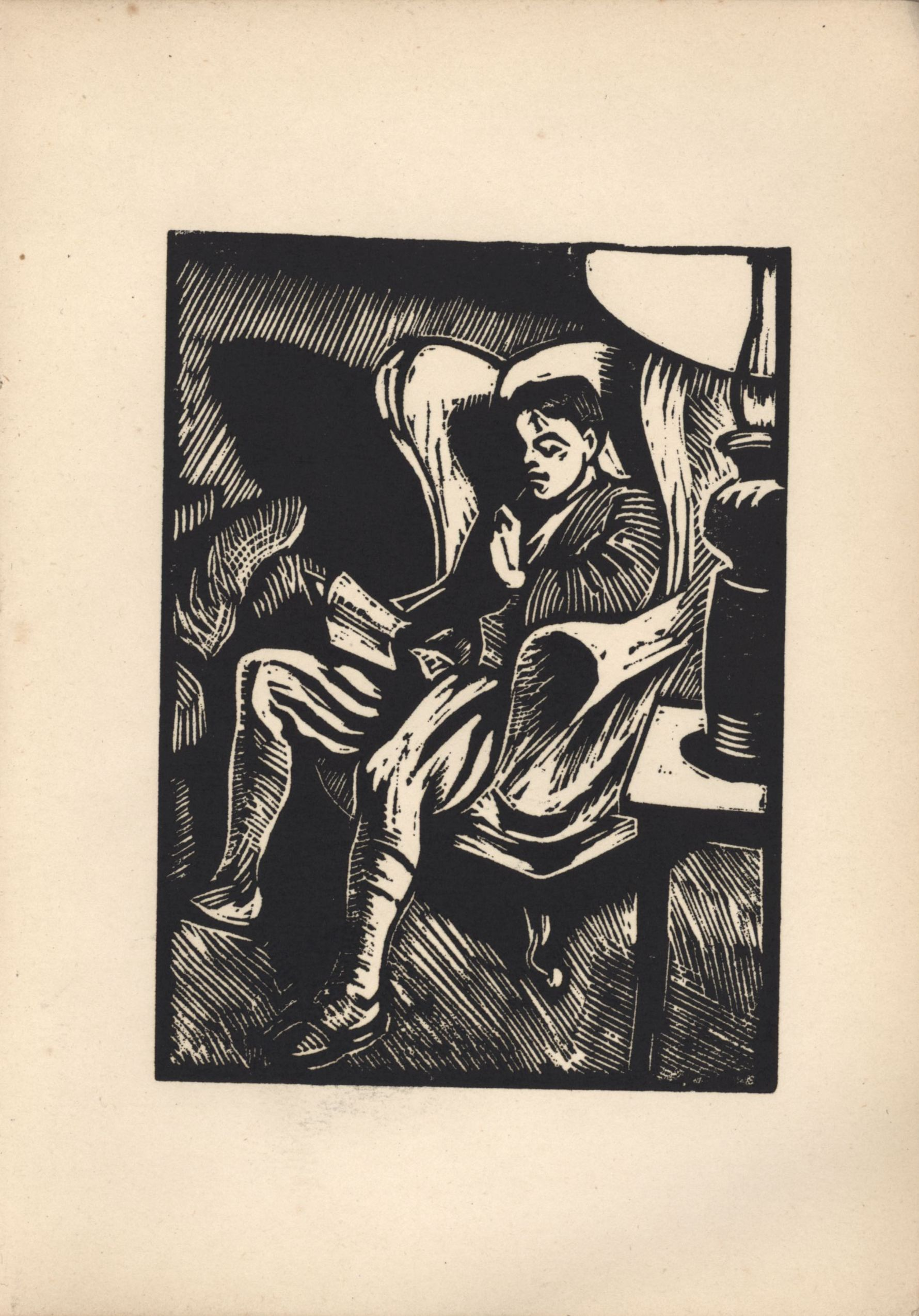 Sixth woodcut from Roger Fry's 'Twelve Original Woodcuts'.