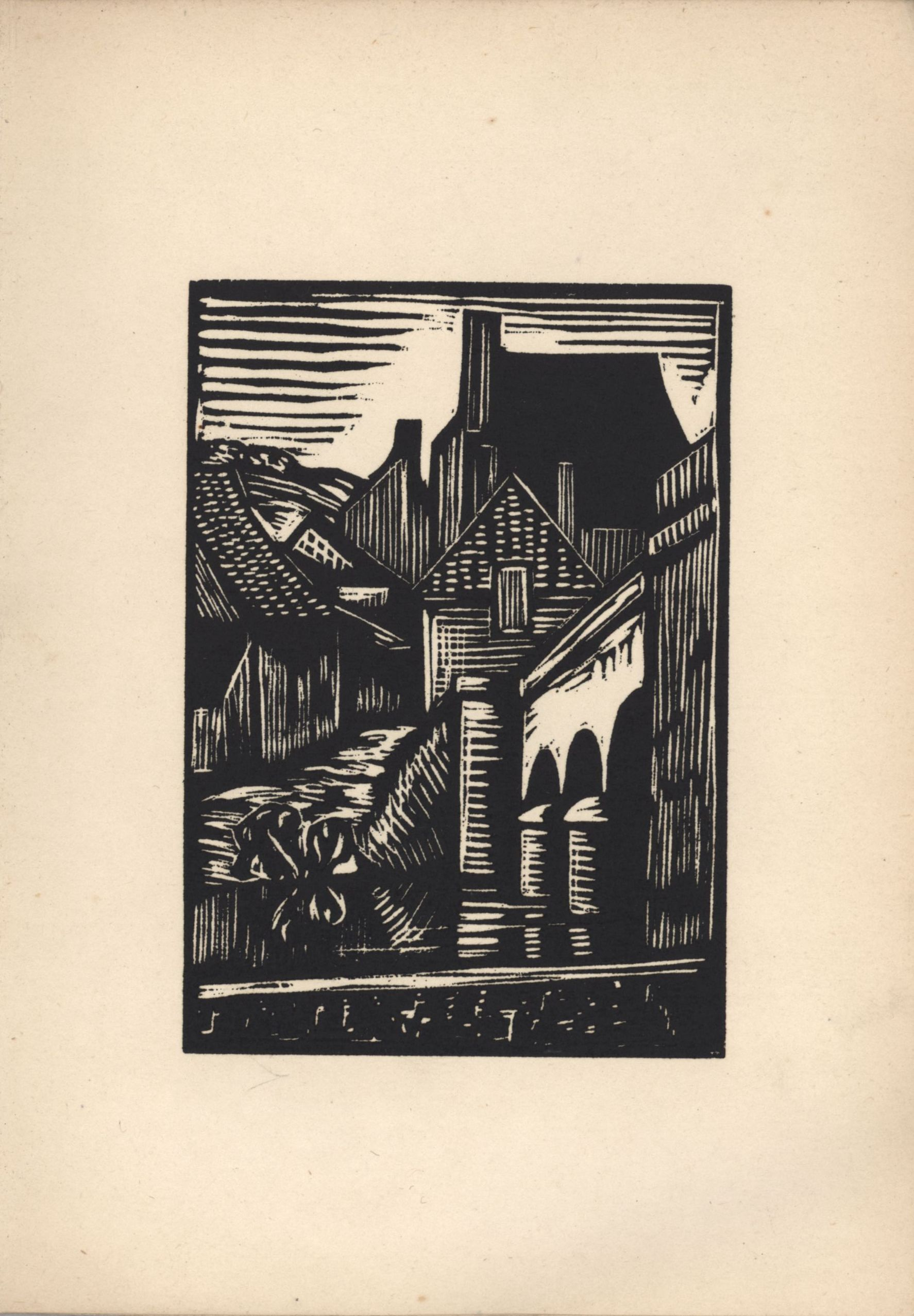 Seventh woodcut from Roger Fry's 'Twelve Original Woodcuts'.