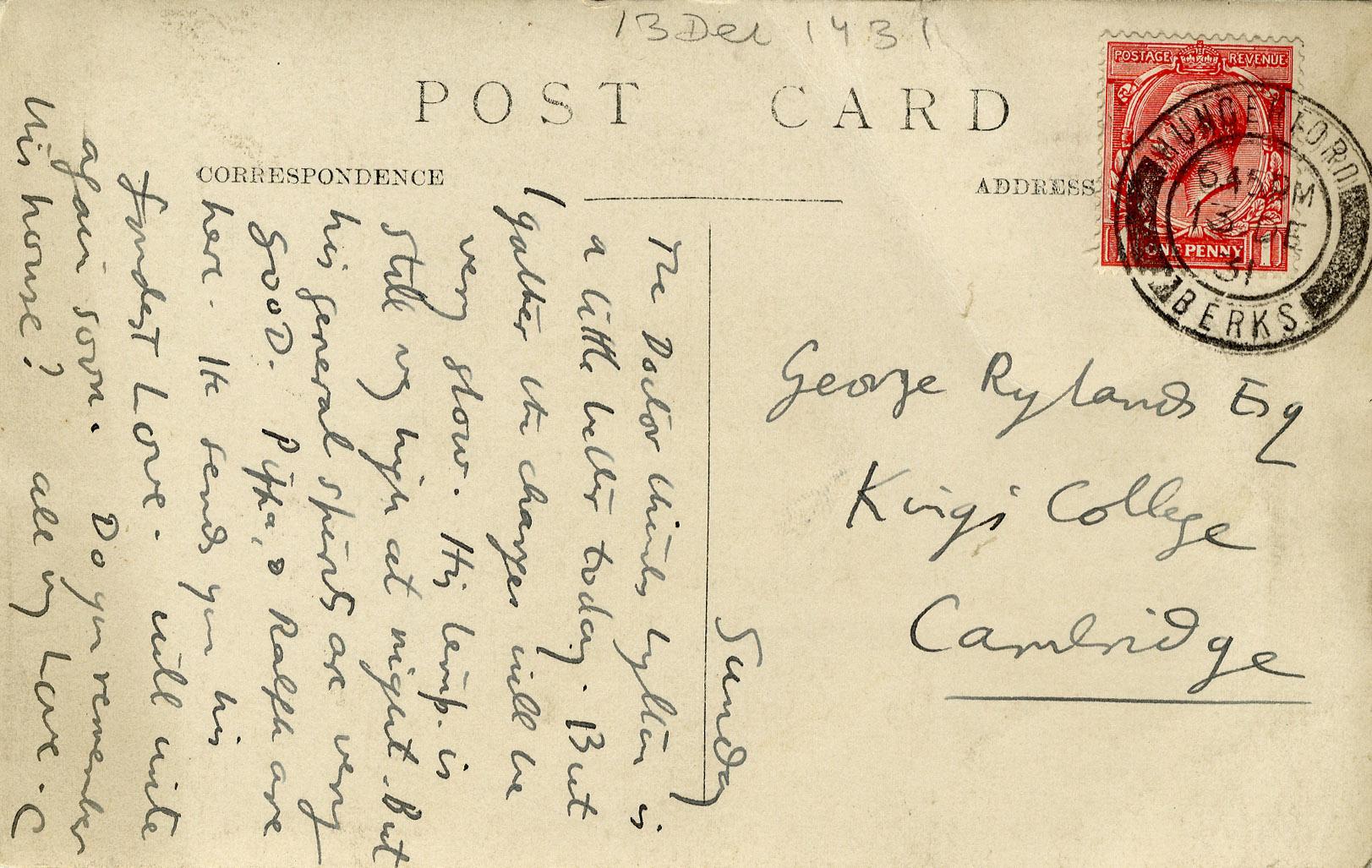 Postcard sent from Dora Carrington to Dadie Rylands, dated Sunday, postmarked 13 December 1931. (GHWR/3/81)