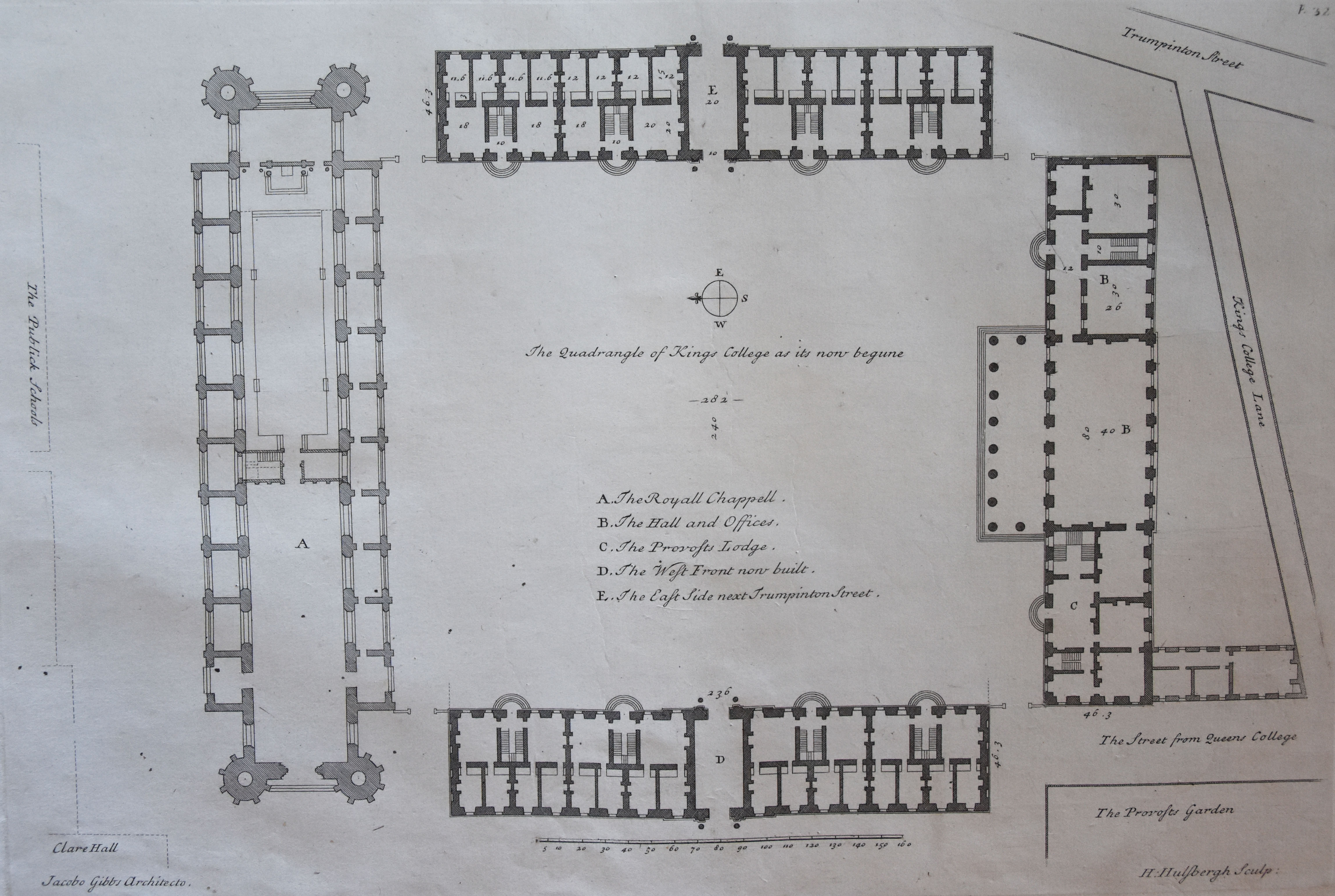 'The General Plan of the new Building'. [James Gibbs' Book of Architecture, plate XXXII]